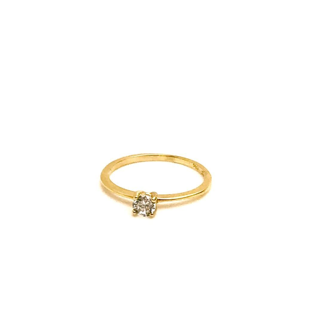 Anel Solitario com Pedra de 4mm Diamante Sintetico