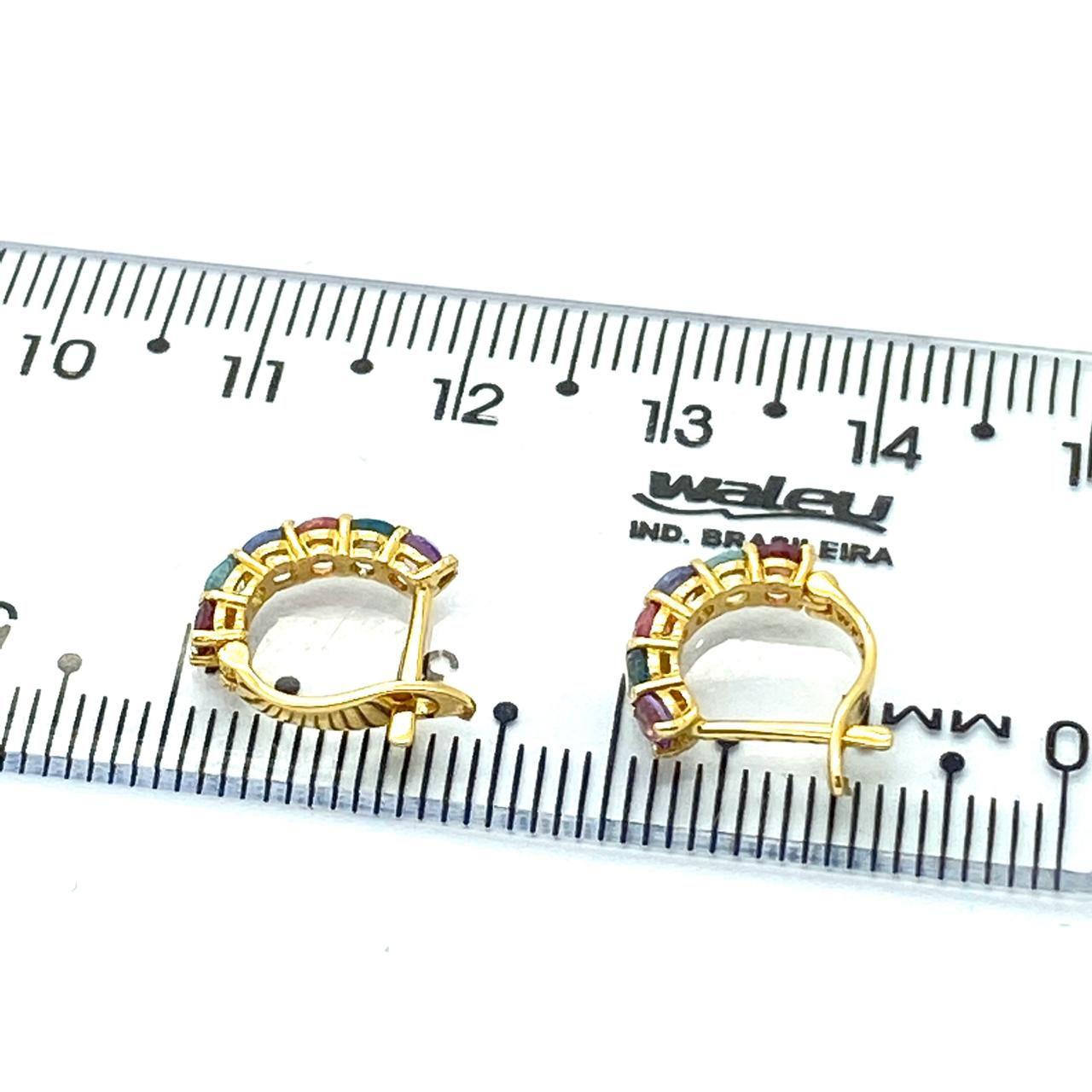 Brinco Argola Ouro Maciço 18k 7mm 12 Pedra Natural Colorida