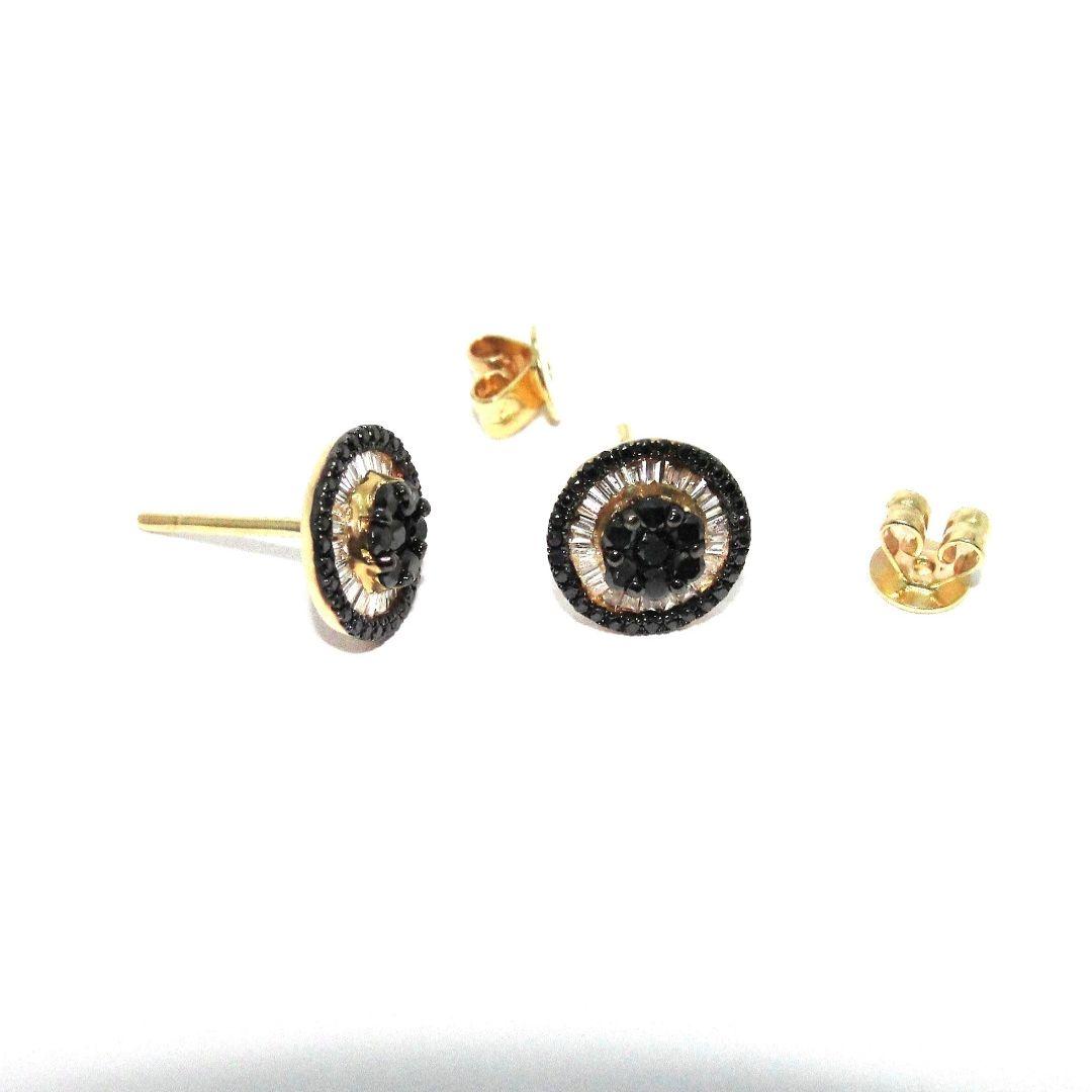 Brinco Ouro Amarelo com Diamante Brilhante Preto e Branco Natural Pizza Mini 0.8cm