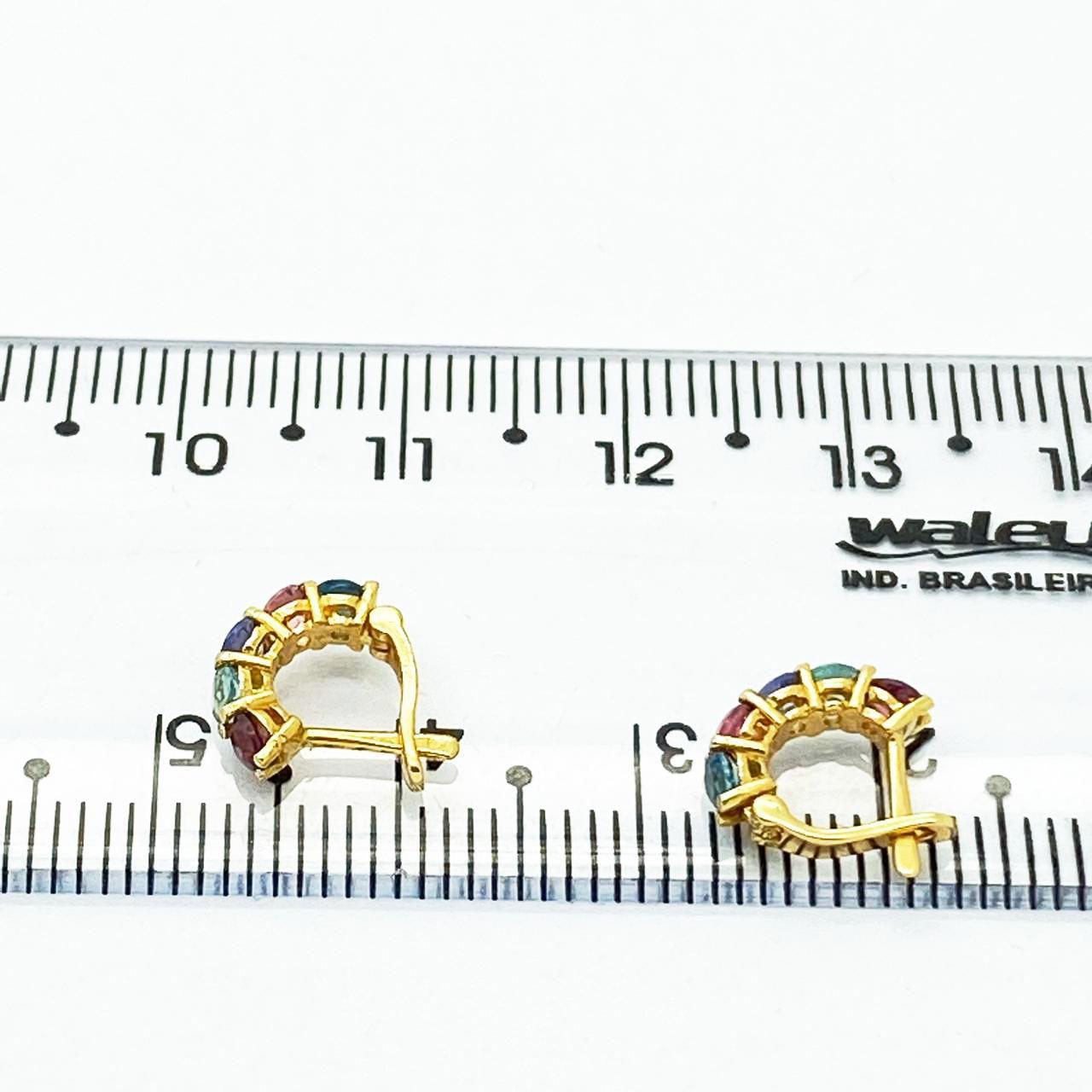 Brinco Piercing Ouro Maciço 18k Argola 5mm 10 Pedra Natural Colorida k3