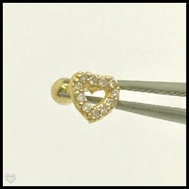 Ouro 18k Piercing Coração Pedra Cartilagem Tragus Orelha