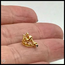 Ouro 18k Piercing Coroa Cartilagem Tragus Orelha k1.5