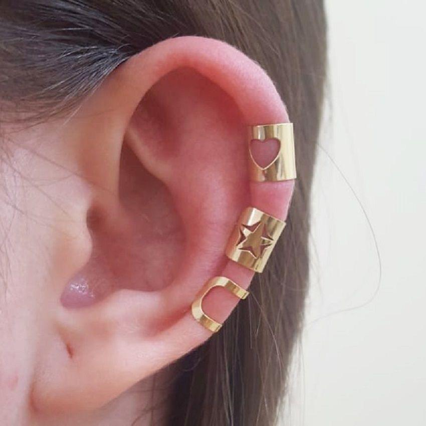 Ouro 18k Piercing Earcuff ( Cada Peça)