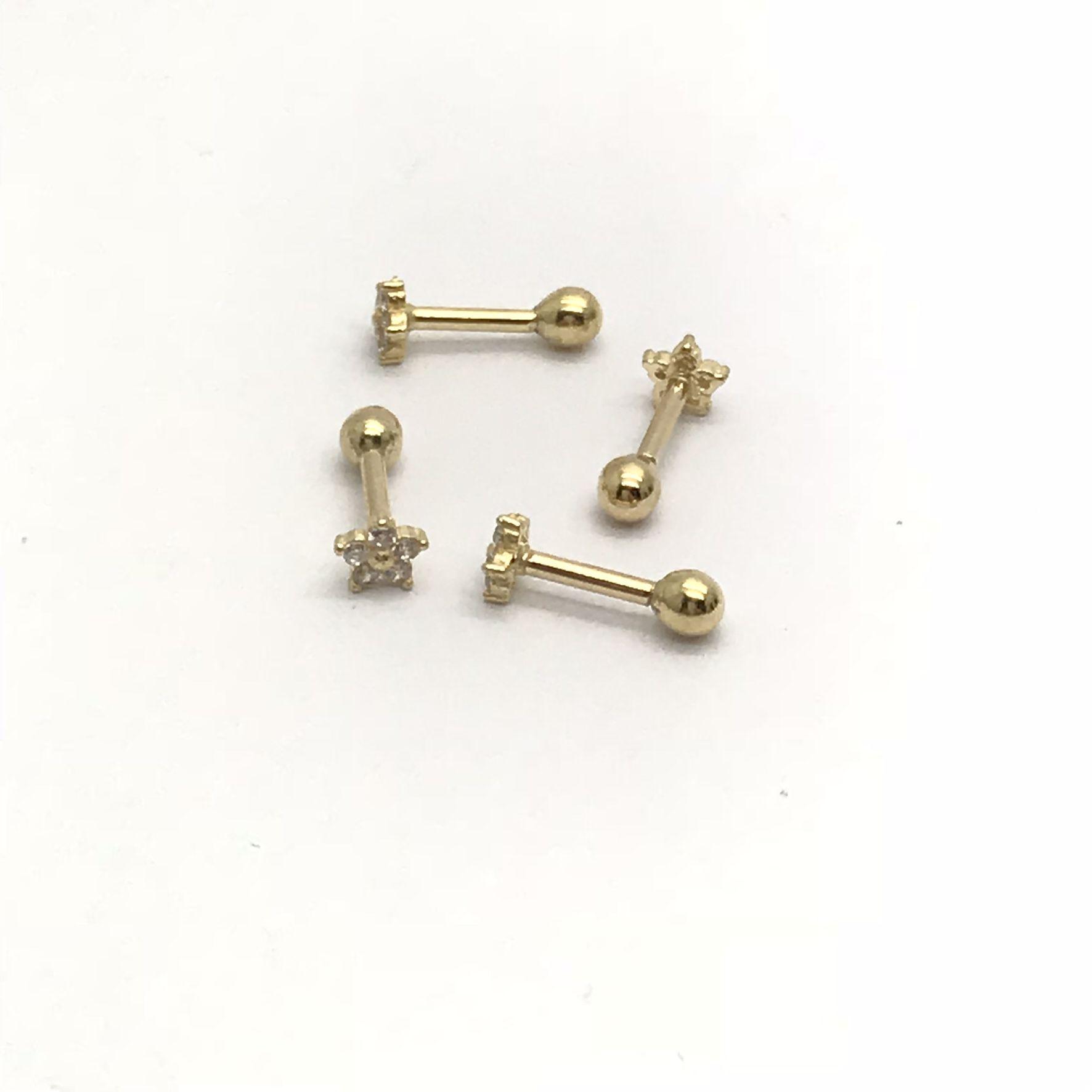 Ouro 18k Piercing Flor Estrela com Pedras Cartilagem Tragus Orelha
