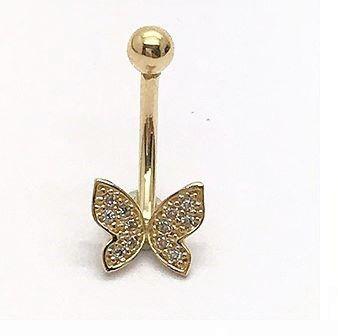 Ouro 18k Piercing Umbigo Ponto De Luz Estrela com Pedras