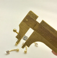 Ouro 18k Piercing Umbigo Ponto De Luz Pedra de 5mm