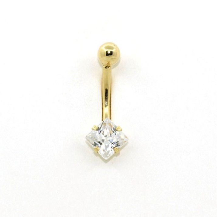 Ouro 18k Piercing Umbigo Ponto De Luz Pedra Quadrada de 5mm