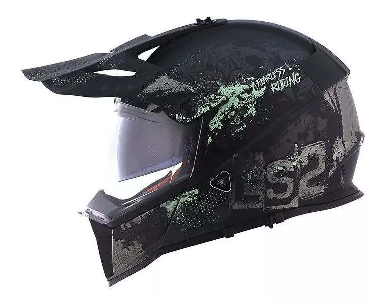 Capacete Off Road Ls2 Mx436 Pioneer Evo Fearless Pt F/cz