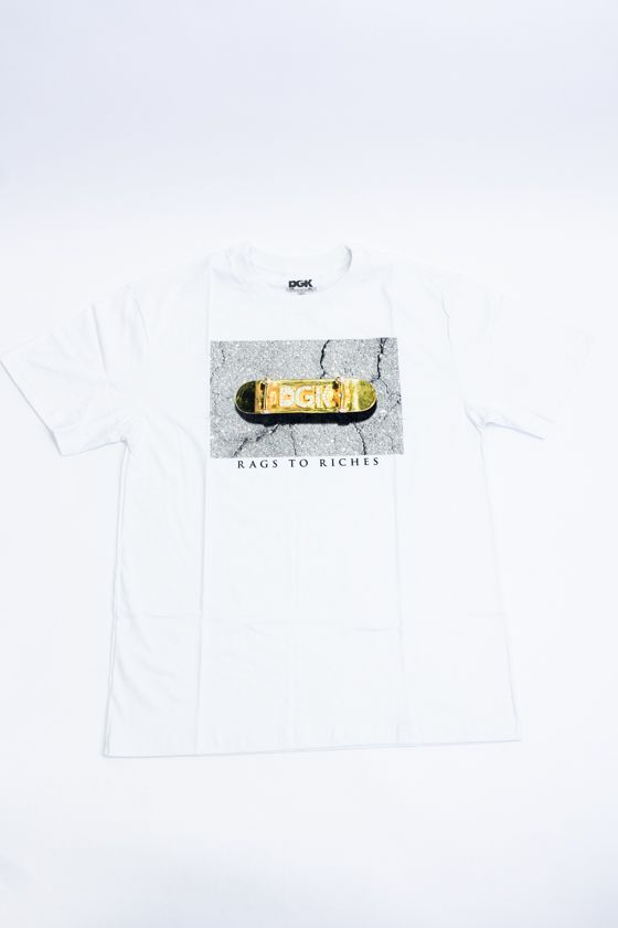 "CAMISETA DGK ""RAGS TO RICHIES"" BRANCA"