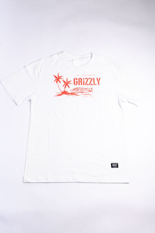 "CAMISETA GRIZZLY ""LEISURE GARMENTS POCKET"" BRANCA"