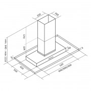 Coifa ilha inox/vidro modelo Brisa 60cm - Arix