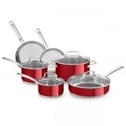 Kit de Panelas KitchenAid de 10 Unidades - Vermelho