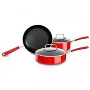 Kit de Panelas KitchenAid de 5 Unidades - Vermelho