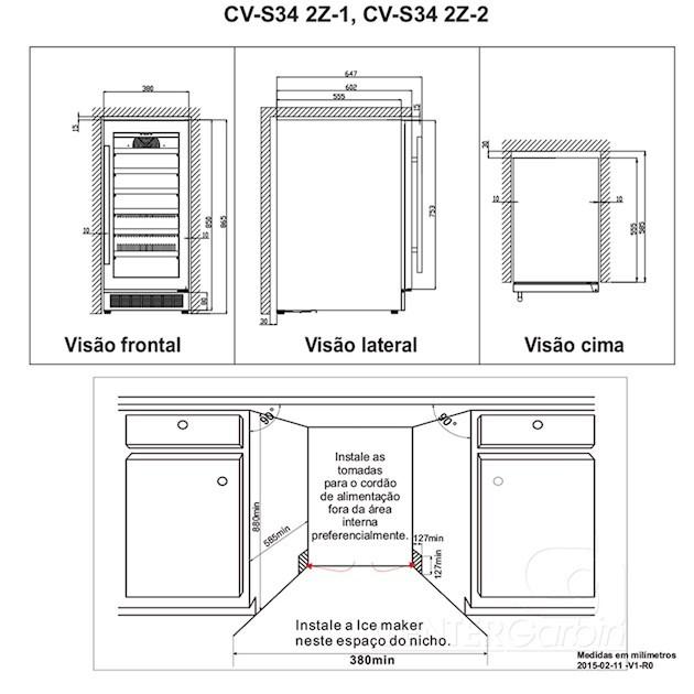 Adega Climatizada Elettromec Porta Inox Built-in 34 Garrafas Controle Eletrônico Compressor