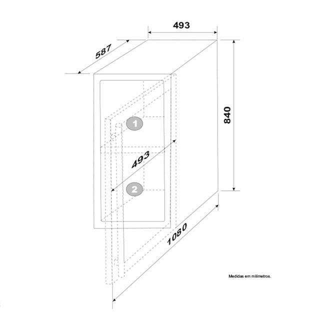 Adega Porta Inox Dual Zone 34 Garrafas Controle Eletrônico Compressor - Elettromec