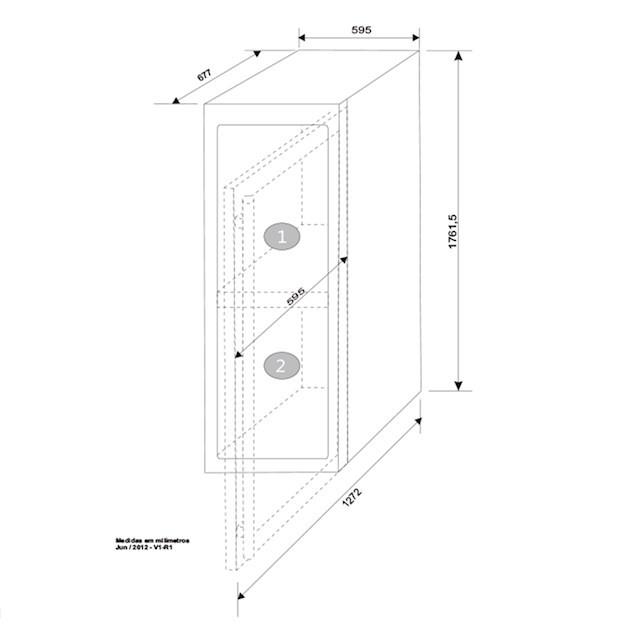 Adega Climatizada Elettromec Porta Inox Dual Zone Built-in 154 Garrafas Controle Eletrônico Compressor