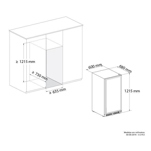 Adega Climatizada Elettromec Vetro Dual Zone Built-in 87 Garrafas Controle Eletrônico Compressor - 220v