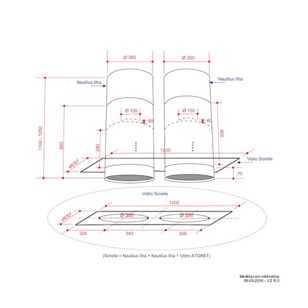 Coifa Ilha Nautilus Inox e Vidro Soft Touch 120cm - Elettromec