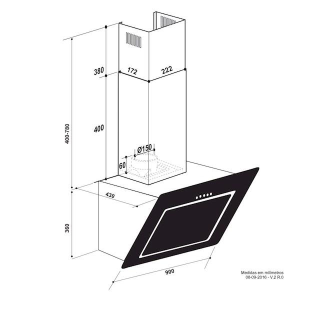 Coifa Parede Serata Inox e Vidro Touch 90cm - 220V -  Elettromec