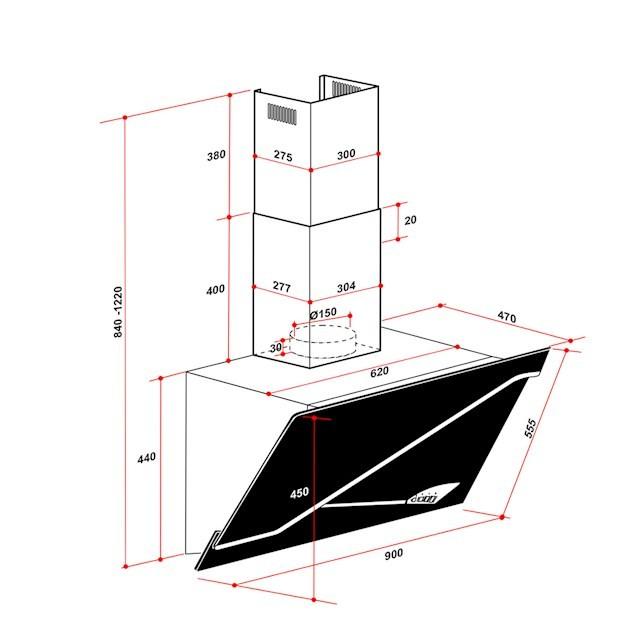 Coifa Parede Stile Inox e Vidro 90cm - 220V - Elettromec