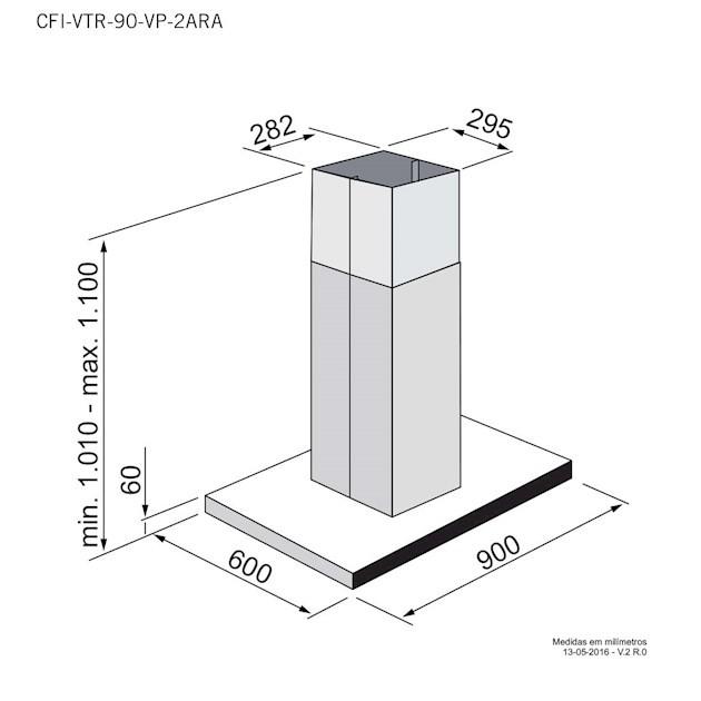 Coifa Ilha Elettromec Vetro Inox e Vidro 90cm - 220V
