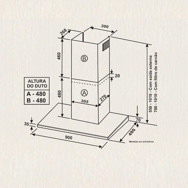 Coifa Parede Elettromec Torino Inox e Vidro Touch 90cm - 220v