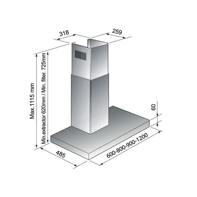 Coifa Parede Milano Touch 120cm - 220v - Elettromec
