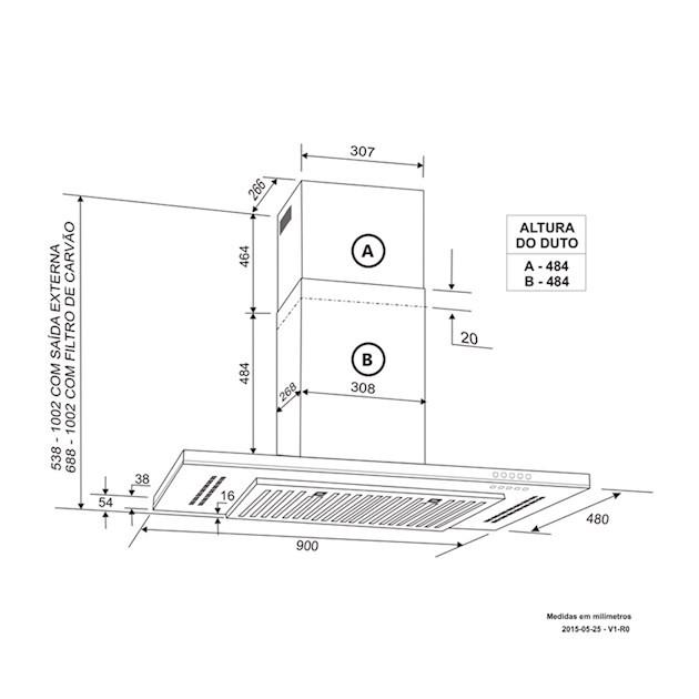 Coifa Parede Elettromec Stretto Inox e Vidro Touch 90cm - 220v