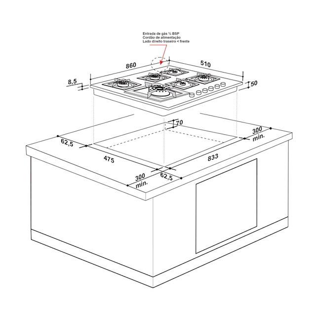 Cooktop Elettromec a Gás Quadratto inox 6 Queimadores 90cm - 220v