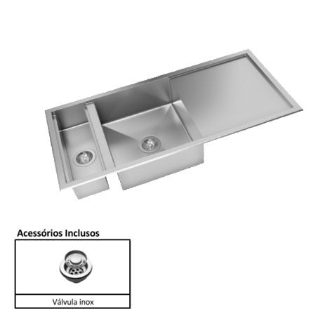 Cuba para Cozinha Quadratino Reversível com Canal Organizador Úmido Inox 110x50 - DeBacco