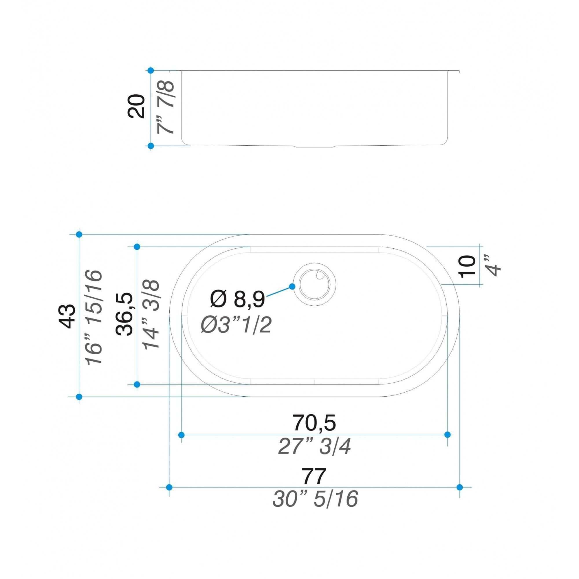 Cuba simples curve inox 304 77cm - Johnson Acero