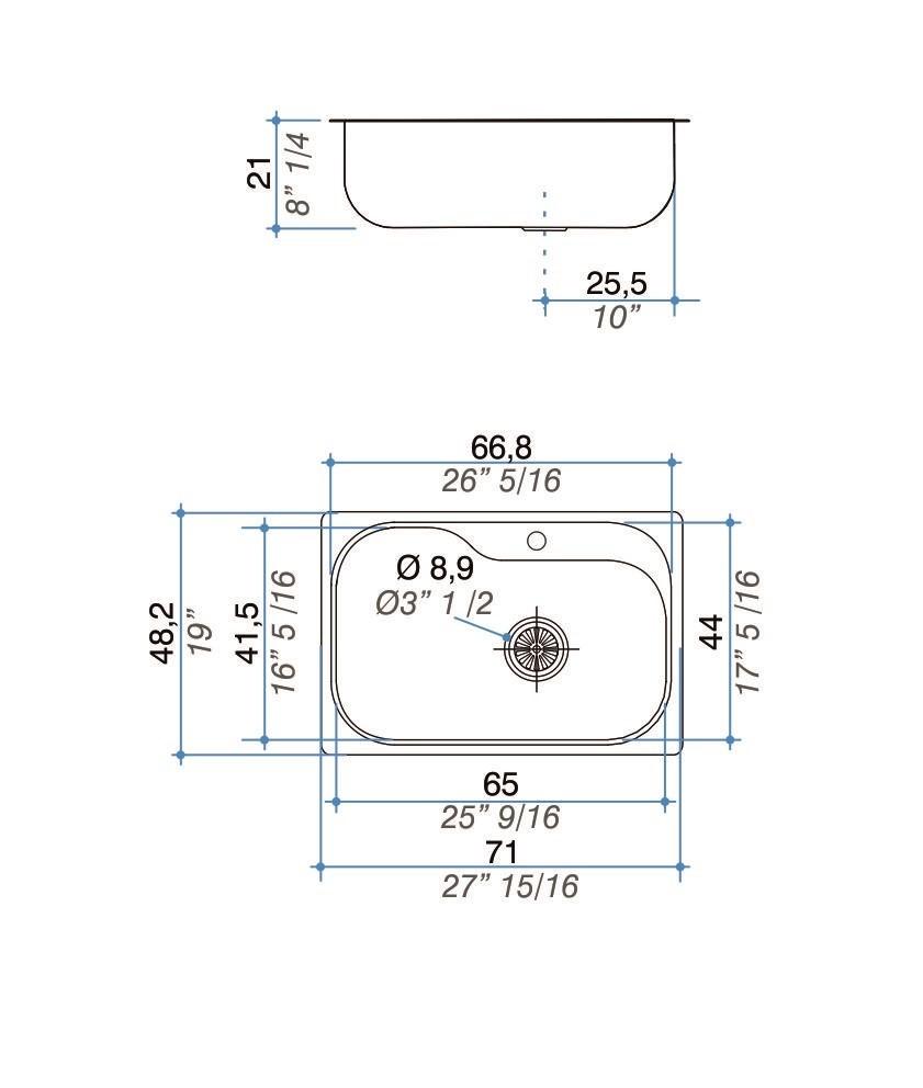 Cuba simples inox 304  71cm - Johnson Acero