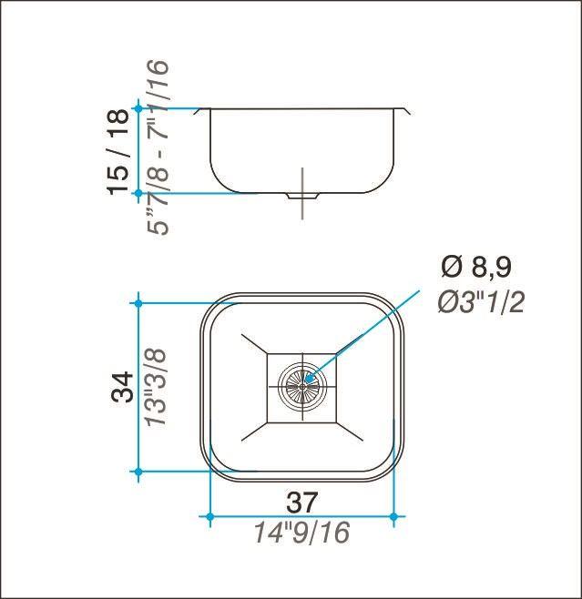 Cuba simples inox 304 polida 37cm - Johnson Acero