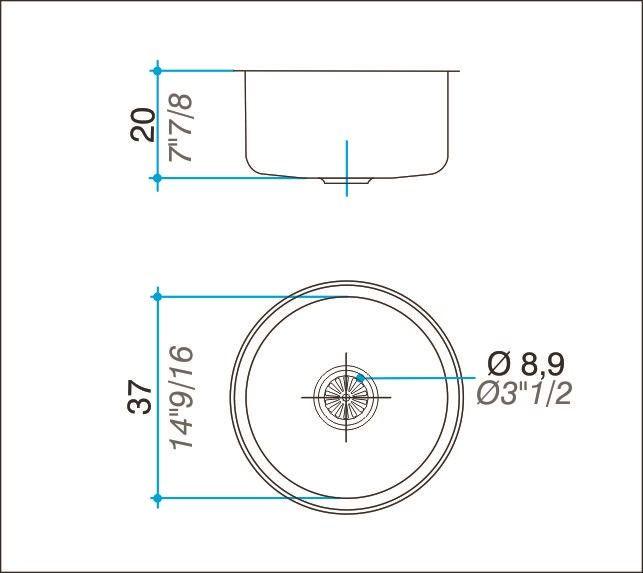 Cuba simples inox 304 redonda 37cm - Johnson Acero