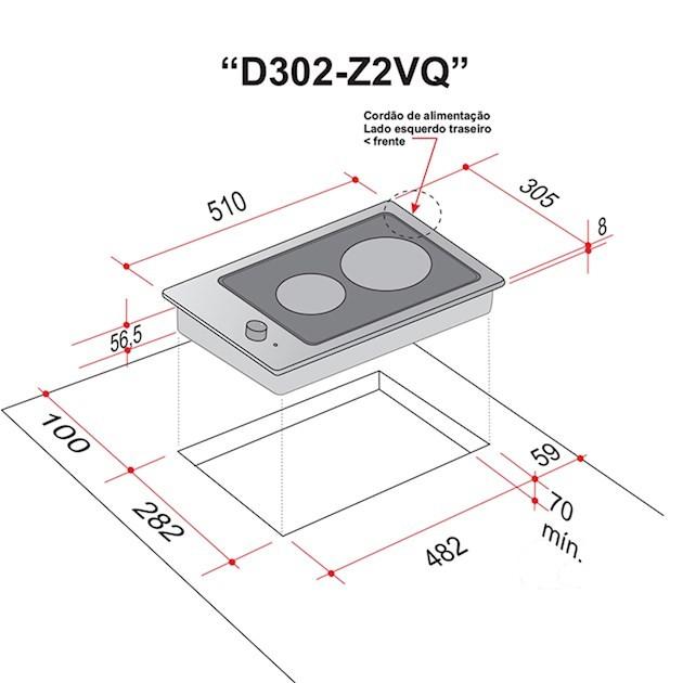 Dominó Elettromec Elétrico Quadratto Dominó Vitrocerâmico 2 Queimadores 30cm - 220v