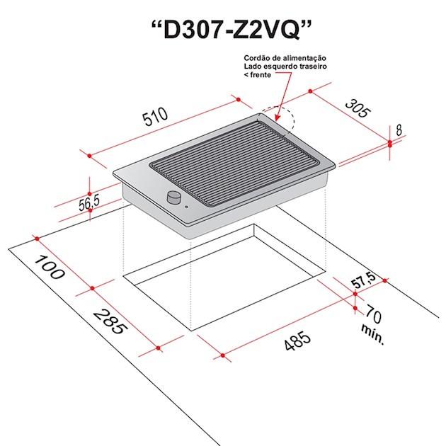 Dominó Elettromec Elétrico Quadratto Grelha Vitrocerâmico 2 Queimadores 30cm - 220v