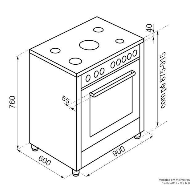 Fogão Elettromec Freestanding Notte 5 Queimadores Forno Elétrico Multifunções 90 cm - 220v