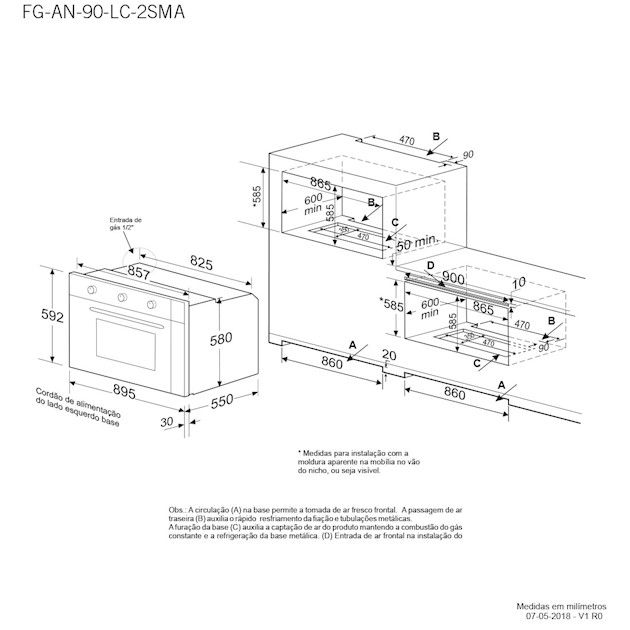 Forno a Gás Luce Grill Elétrico Inox 90cm - Elettromec