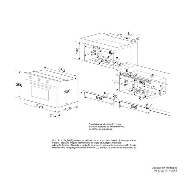 Forno a Gás Elettromec Luce Inox Gril Elétrico 110 litros 90cm - 220v