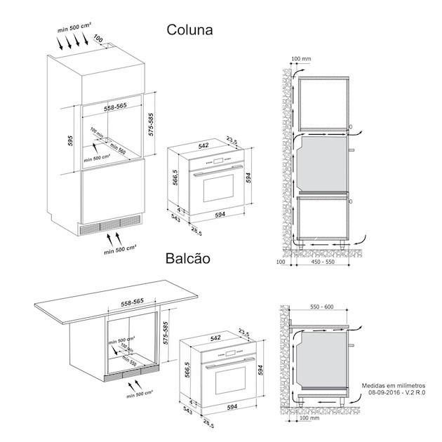 Forno Elétrico Nero 73 Litros Built-in 13 Funções Digital Touch 60cm - 220v - Elettromec