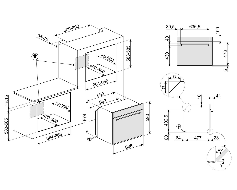 Forno Elétrico Inox Multifunções  77 litros - 220v -Smeg