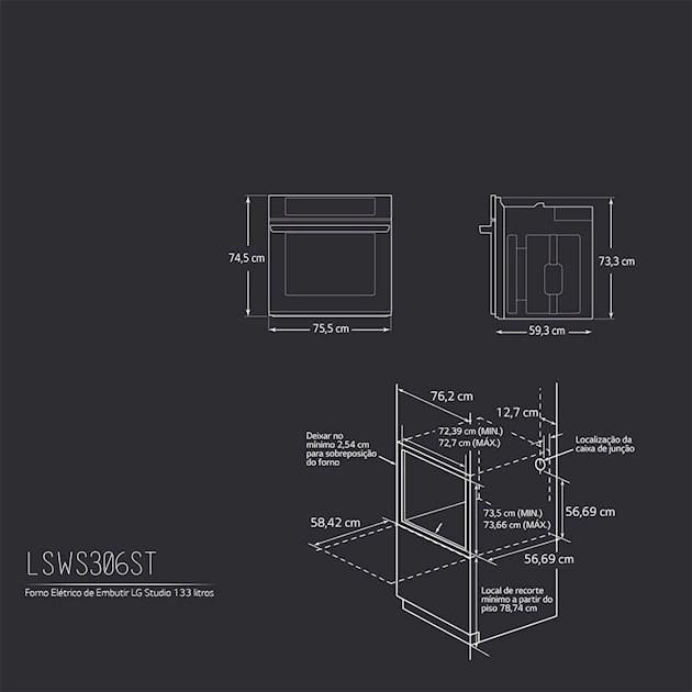 Forno Elétrico LG Studio 133 Litros EasyClean™ e Limpeza Pirolítica 75cm - 220v