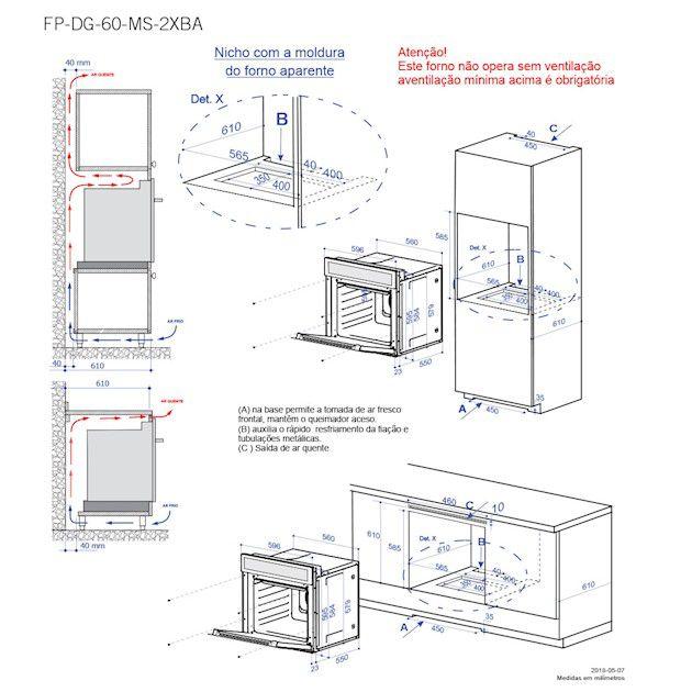 Forno Elettromec Massima Pirolítico Elétrico Multifunções Digital Inox 60cm - 220v