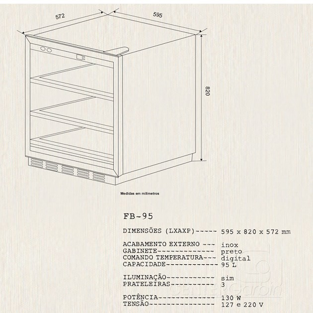 Frigobar Inox Built-In 95 Litros - Elettromec