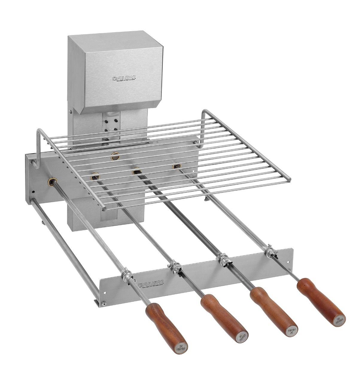 Grill inox elétrico versátil 6 espetos 73cm - Felesa