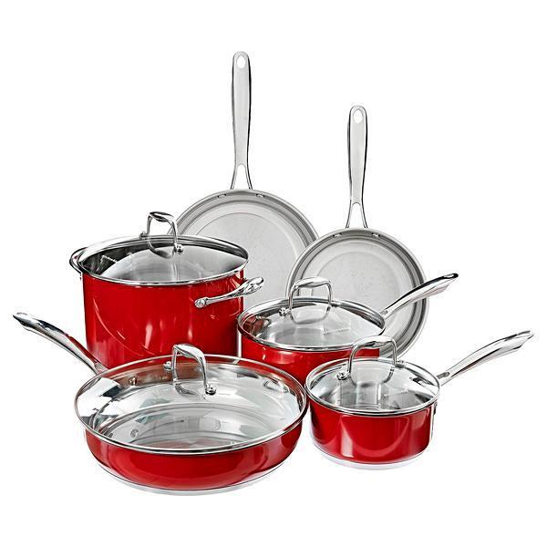 Kit de Panelas KitchenAid de 10 Peças - Vermelho