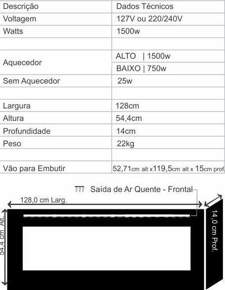 Lareira Elétrica Ecológica Design Steel ECO 130 - 130x55cm - 220v