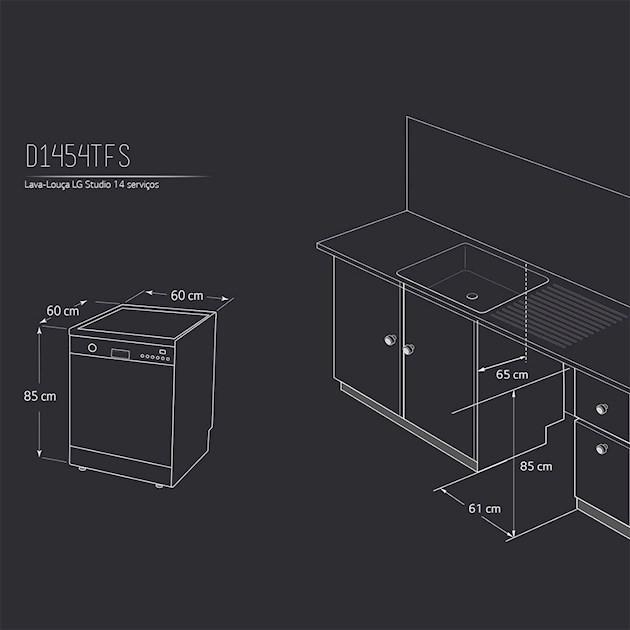 Lava Louça de Embutir Studio TrueSteam™ 14 Serviços - 220v - LG