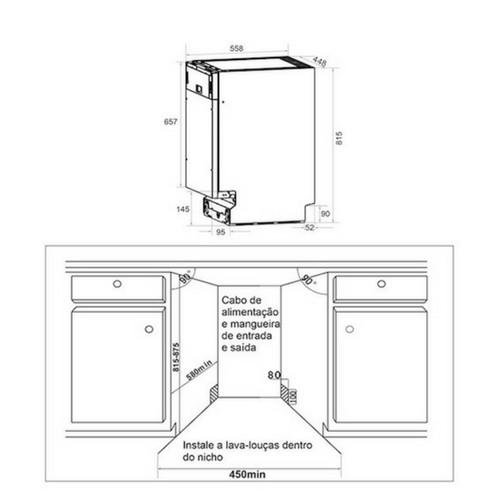 Lava Louças de Embutir 9 Serviços 45cm inox ou para Revestir - Elettromec