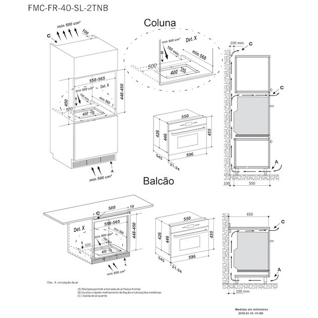 Microondas de Embutir Elettromec Sole 40 Litros Built-in 13 Funções inox 60cm - 220v
